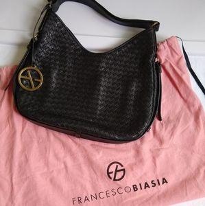 Francesco Biasia woven leather shoulder bag, black